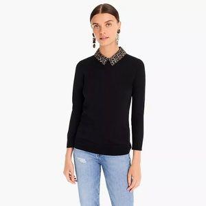 J Crew merino wool black sweater leopard collar